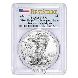 2021 (P) 1 oz Silver American Eagle PCGS MS 70 FS Emergency Issue