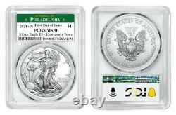 2021 (P) AMERICAN EAGLE $1 EMERGENCY ISSUE PCGS MS70 PHILADELPHIA FDOI Green