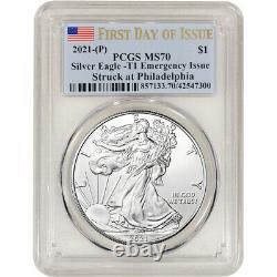 2021 (P) American Silver Eagle PCGS MS70 First Day Issue Flag Emergency Issue