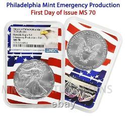 2021 P Philadelphia $1 American Silver Eagle NGC MS70 Emergency FDOI Flag Core