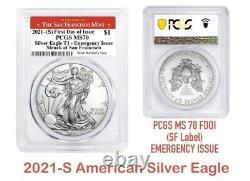 2021(S) $1 American Silver Eagle PCGS MS70 T1 Emergency Issue FDOIPRESALE