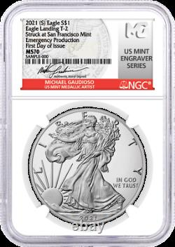 2021 (S) $1 Silver Eagle Type 2 Struck at SF Emergency NGC MS70 FDOI Gaudioso