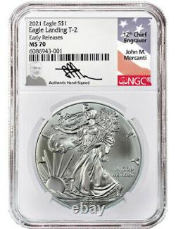 2021 T-2 American Silver Eagle Early Releases NGC MS70 John Mercanti Signed