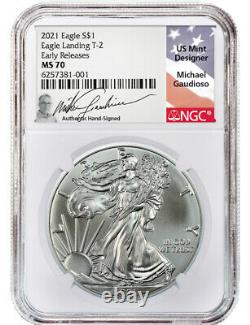 2021 T-2 American Silver Eagle NGC Early Releases MS70 Michael Gaudioso Signed
