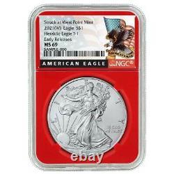 2021 (W) $1 American Silver Eagle 3pc. Set NGC MS69 Black ER Label Red White Blu