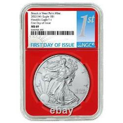 2021 (W) $1 American Silver Eagle 3pc. Set NGC MS69 FDI First Label Red White Bl