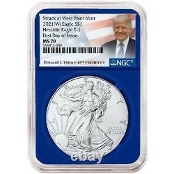 2021 (W) $1 American Silver Eagle 3pc. Set NGC MS70 FDI Trump Label Red White Bl