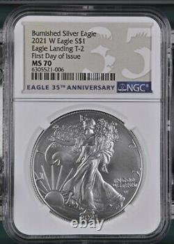 2021 W $1 Burnished American Silver Eagle Type 2 NGC MS70 FIRST DAY ISSUE IN STK