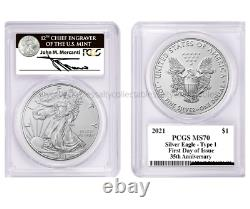 2021- W $1 Silver Eagle Type 1 PCGS MS70 First Day of Issue Mercanti Signed