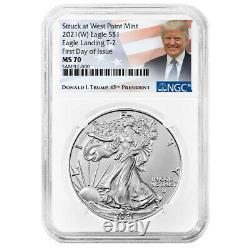 2021 (W) $1 Type 2 American Silver Eagle 3 pc Set NGC MS70 FDI Trump Label Red W