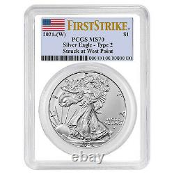 2021 (W) $1 Type 2 American Silver Eagle 3pc Set PCGS MS70 FS Flag Label Red Whi