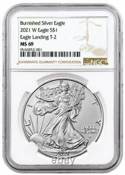 2021 W Burnished American Silver Eagle Type 2 NGC MS69 Brown Label PRESALE