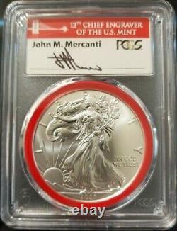 2021 (s) Emergency Silver Eagle Pcgs Ms70 Fdoi Mercanti Mint Engraver Series Red