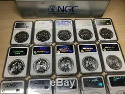 20th Anniversary 1986-2005 AMERICAN SILVER EAGLE 20 Coin Set LIMITED NGC MS69