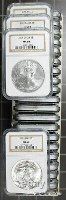 (23 pc) SET 1986-2008 OF NGC MS69 AMERICAN SILVER EAGLE $1 COINS IN NGC BOX