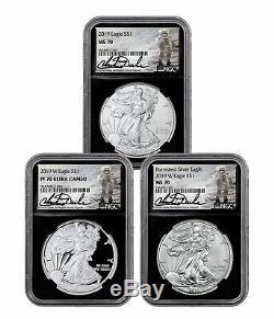 3 Coin Set 2019 American Silver Eagle Type Set NGC MS70 + PF70 Blk Duke SKU58675