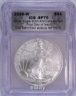3-pc 2006 American Silver Eagle 20th Anniversary Set ICG MS70 & PF70 First Day