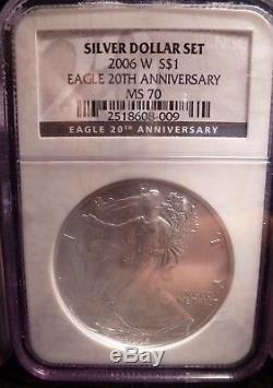 3-pc. 2006 American Silver Eagle 20th Anniversary Set NGC PF70, PF70 & MS70