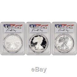 3-pc. 2006 American Silver Eagle 20th Anniversary Set PCGS PF70 & MS70 Moy