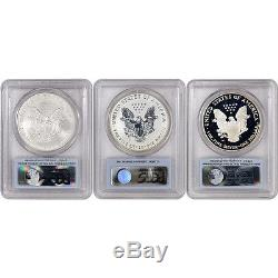 3-pc. 2006 American Silver Eagle 20th Anniversary Set PCGS PR70 & MS70 FS