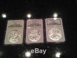 32 American Silver Eagle Coins, NGC MS 69 Mahogany Box bonus, key dates