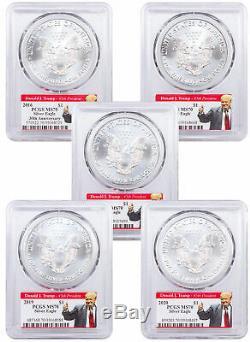 5 PC 2016-2020 1 oz Silver American Eagle $1 Coin PCGS MS70 Trump 2020 SKU60978