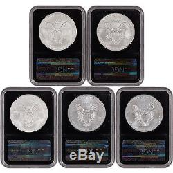 5-pc. American Silver Eagle Uncirculated Collectors Burnished Set NGC MS69