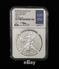 8- Burnished American Silver Eagles Rare Set MS70 NGC Early Releases MERCANTI