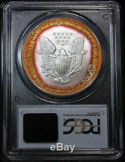 Amazing 2004 PCGS MS68 Superb Gem Rainbow Target Toned American Silver Eagle