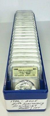 American Silver Eagle 20 Coin Set 1986-2005 ICG MS 69