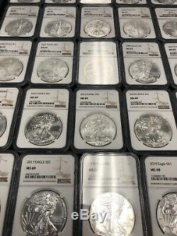 American Silver Eagle 34 Piece 1986 2019, Complete Date Set, NGC MS69
