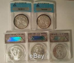 American Silver Eagle Coin Collection 1988 1989 2000 2001 2002 ANACS MS70