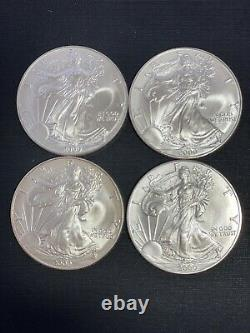 American Silver Eagle Dollars-four-really nice MS uncirculated