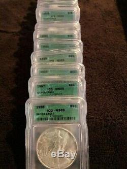 American Silver Eagle Set MS69 1986-2005 Twenty 20 Coins