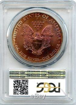 C6854- 2008 Silver American Eagle Pcgs Ms68 Monster Rainbow Toning