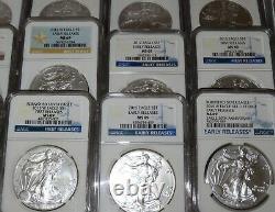 Coins dollars 50 American Eagles NGC graded lot MS69 1986 thru 2021 W + Heraldic