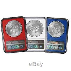 Daily Deal 2016 $1 American Silver Eagle NGC MS70 FDI 3pc Red, White, and Blue