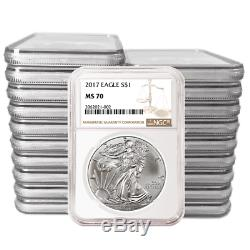 Daily Deal Lot of 20 2017 $1 American Silver Eagle NGC MS70 Brown Label