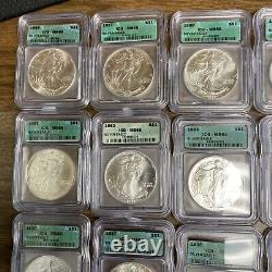 ICG Silver American Eagles Anniversary Set 1986 -2005 20 Coins Plus Box MS69