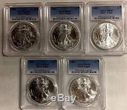 LOT OF 5 2002 ASE $1 PCGS MS69 1 oz. American Silver Eagle INVESTMENT LOT