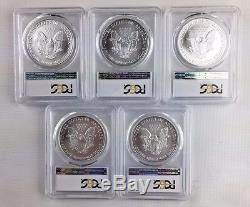 LOT OF 5 2006 ASE $1 PCGS MS69 1 oz. American Silver Eagle INVESTMENT LOT
