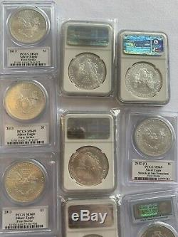 Lot 13 American Silver Eagles NGC PCGS MS69 Varied Dates Some Mercanti Signed
