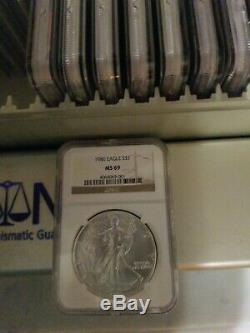 Lot (30) 1986 2015 American Silver Eagle Set NGC MS69