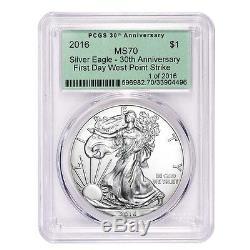 Lot of 10 2016 1 oz Silver American Eagle $1 Coin PCGS MS 70 OGH FDOI First Da
