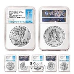 Lot of 10 2016-W 1 oz Burnished Silver American Eagle NGC MS 70 First Day of I