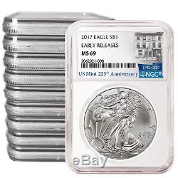 Lot of 10 2017 $1 American Silver Eagle NGC MS69 225th Anniversary ER Label