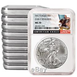 Lot of 10 2017 $1 American Silver Eagle NGC MS70 Early Releases Black ER Label