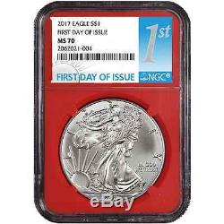 Lot of 10 2017 $1 American Silver Eagle NGC MS70 FDI First Label Red Core