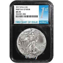 Lot of 10 2017 $1 American Silver Eagle NGC MS70 FDI First Label Retro Core