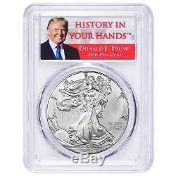 Lot of 10 2017 $1 American Silver Eagle PCGS MS70 Donald Trump First Strike La